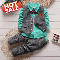 Toddler Kids Baby Boys Gentleman Formal Blazer T-shirt Top+Pants Outfits Suit!