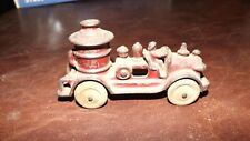 Cast Iron Fire Truck early original toy - fire pumper with driver - small rare