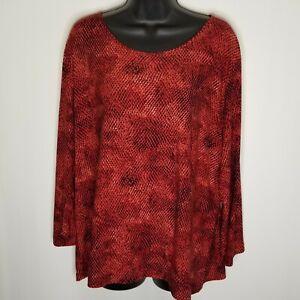 Rafaella Women's Blouse  Size 2XL Red Reptile Print 3/4 Sleeve Scoop Neck