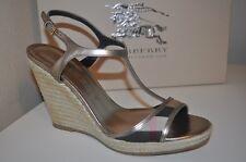 NIB BURBERRY Platfrom LEEHAM Wedge Espadrille Sandal Shoe Check Plaid T Strap 10