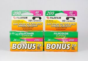 Pack of 4 Fujicolor Superia 200 24 Exp. Color 110 Film, Expired 2001-2002