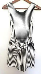 SPORTSGIRL Ladies Designer White/Black Striped Sleeveless Romper size XXS EUC