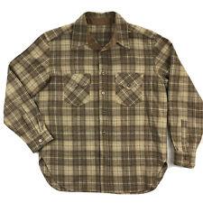 Pendleton Mens XL Brown Plaid Wool Long Sleeve Button Up Shirt