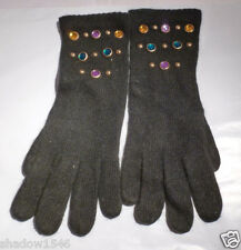 NEW WOOL ANGORA BLACK COLOR W/MULTI COLOR CRYSTALS GLOVES ONE SIZE FITS ALL
