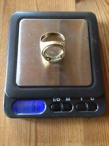 Vintage Gents 9ct Gold Half Sovereign Ring Mount ~ Size Y - Z 6.6g