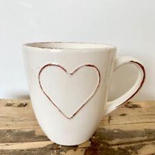 Heart Range Cream Embossed Ceramic Mugs Set of 4
