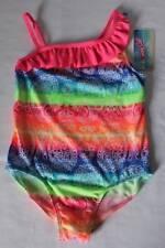 NEW Girls 1 piece Swimsuit Size XS 4 - 5 Rainbow Colorful Paisley Print Bathing