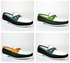 New Authentic Gucci Men Multicolor Leather Horsebit Loafer Moccasin,337060 AYO70