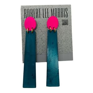 Robert Lee Morris Earrings Modernist Statement Pink Turquoise Green Drop Gold To