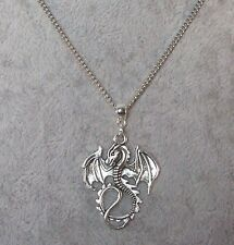 Lord Of The Rings Hobbit Smaug Tibetan Silver Dragon Pendant Necklace.