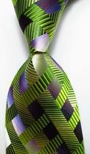 New Classic Checks Green Purple JACQUARD WOVEN 100% Silk Men's Tie Necktie