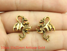 10pcs 21x15mm Dragon Charms Antiuqe Gold Tone Pendant Bead Making DIY