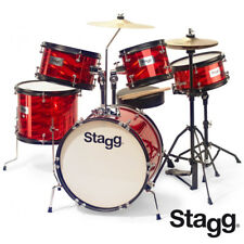 "Stagg TIM-516JR 16"" 5 Piece Junior Complete Drum Set - RED Sticks, Cymbals, Seat"