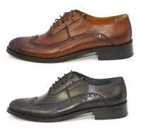 Elegante Men's Genova Handmade Leather Wingtip Toe Oxford Shoes MADE in ITALY