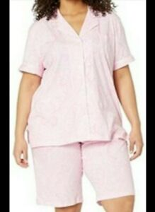 Ralph Lauren Women's Pajama Pink Paisley Cotton Bermuda Shorts PJ set Sz Large