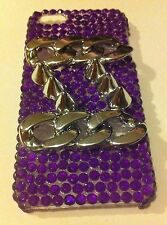 NEW iPhone 5 & 5s Case/Cover, 3D Silver Chains & Spikes With Purple Rhinestones
