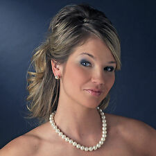 """8bb Bridal Prom Party 18-20"""" Faux10mm White Pearl Necklace Earring Set"""