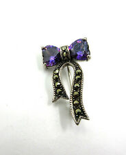 Vintage Amethyst Heart Bow Marcasite Sterling Silver Brooch Pin THAI 925