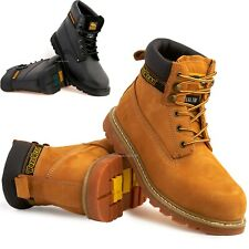 Mens Leather Goodyear Welted Safety Steel Toe Cap Ankle Work Shoe Hiker Boots Sz