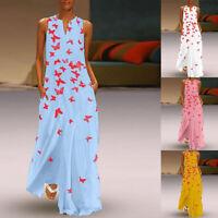 Women Summer Casual Sleeveless Bohemian Maxi Dress V Neck Boho Beach Dresses GIF