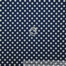 BonEful Fabric FQ Cotton Quilt Navy Dark Blue White American Polka Dot Calico US