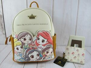Loungefly Disney Princess Chibi Characters Backpack & Cardholder RARE ~ NWT