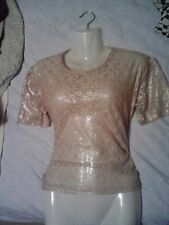 LADIES PRIMARK ATMOSPHERE GOLD LACE SEE THROUGH PARTY TOP SIZE 6