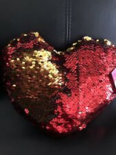 Sequin Heart Plush Gold Red Valentines Day Gift Pillow