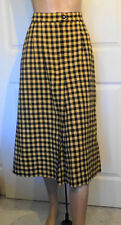 Vintage Midi Length Yellow Black Wool Skirt Front Pleat W28