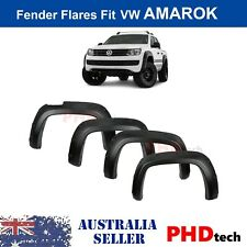 VW AMAROK Wrinkle MATTE BLACK POCKET STYLE FENDER FLARES GUARDS 2010 - 2019