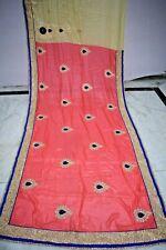Vintage Golden Boder Bollywood Designer Saree Art silk Sari Craft Fabric