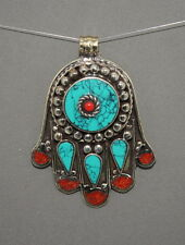 Turquoise pendant Coral Pendant Hamsa Pendant Tibet Pendant Silver Pendant Yoga