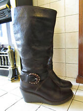Dark Brown Leather Faith Knee High Boots in Size 4 UK EUR 37 - Wedge Heel 2.75""