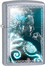 Zippo 2015 Catalog Mythical Man In Hues Of Blue Street Chrome Lighter 28878 NEW