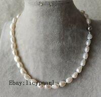echt  10-11mm weiß Barock Süßwasser Perle Halskette, 15-25 inches