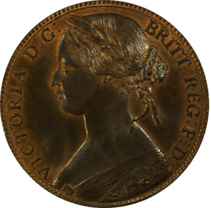 1863 Queen Victoria British Penny Coin PCGS MS66