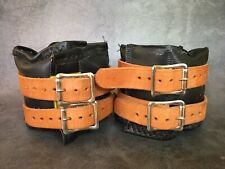 Vintage Everlast 7025 Ankle Weights Black w/ Brown Leather Straps 5 Pounds Each