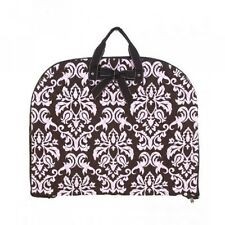 Pink and Brown Damask Print Quilted Garment Bag Carry on Luggage