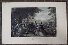 Antique Hand Colored Print Engraving - July 4th Celebration - 1876