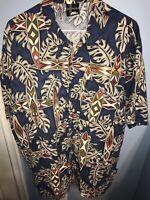 No Fear-Mens Button Down Hawaiian Shirt Made in USA Size Large Tiki Surfboard