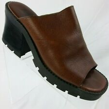 Mia Womens 10 M Brown Mules Chunky Leather Slip On High Heel Shoe 1S7