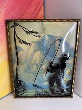 Vintage Reverse Painting Fisherman Bubble Glass 4X5