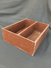 VINTAGE FRENCH WOODEN CUTLERY BOX BROWN SHELF HANDMADE JEWELLERY RUSTIC COUNTRY