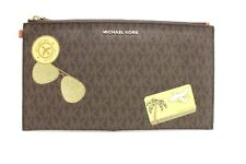 Michael Kors Illustration Collection Fly Away Large Zip Clutch (Brown/Orange)