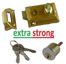 BRASS RIM NIGHT FRONT DOOR LOCK LATCH WITH 3 KEYS 60MM BACKSET / CYLINDER SET
