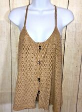 PINK ZONE Suede-Like Perforated Brown Mole Skin Strappy Women's Top Size M (17B)