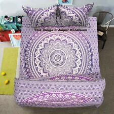 4pc purple mandala bedding set with queen quilt cover, boho bedspread & pillows
