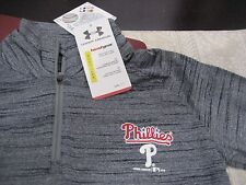 Youth Boys/Girls Under Armour Philadelphia Phillies 1/4 Zip Gray Ylg Large Nwt