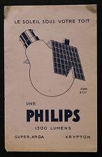 BUVARD PUBLICITAIRE ANCIEN : AMPOULE PHILIPS - D'APRES ORSI