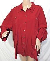 Southern Lady Women Plus Size 1x 2x 3x Wine Red Button Down Shirt Top Blouse